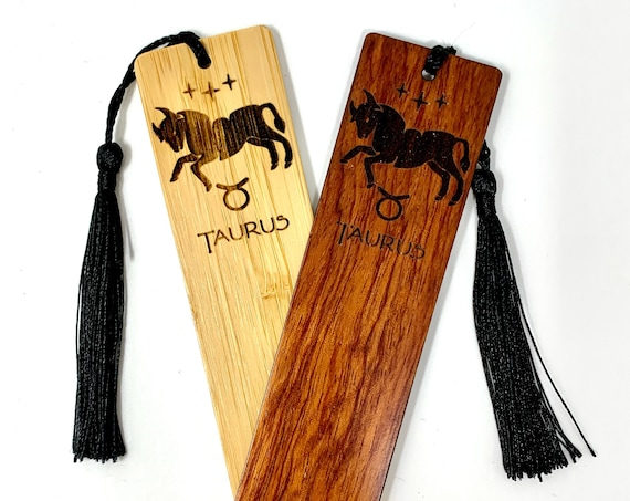 Wood Bookmark - Astrology Sign - Taurus The Bull - Bookmarks Bamboo or Rosewood, Engraved Real Wood Gift for Students or Friend