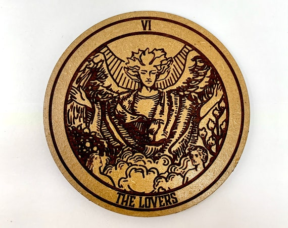 Tarot 06 - The Lovers - Drink Coaster Set, FREE SHIPPING