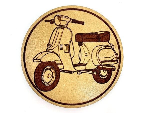 Scooter Moped Symbol Drink Coasters Set, FREE SHIPPING
