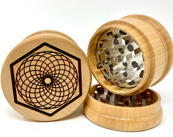 Torus Design Sacred Geometry - Herb Grinder Weed Grinders Tobacco Spices 3 piece all wood set with sharp blades and sieve FREE SHIPPING