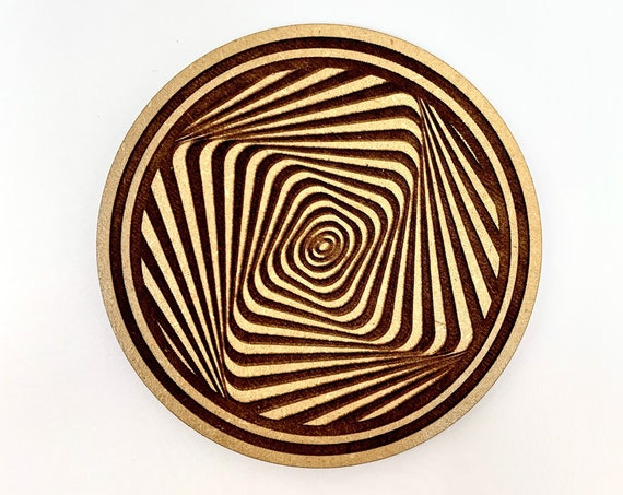 Drink Coasters - Hypnotic Spiral Wood Drink Coaster Set Home Decor Unique Gifts Housewarming Gift