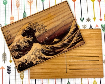 Wood Postcard - Great Wave Off Kanagawa Japanese Print, FREE SHIPPING
