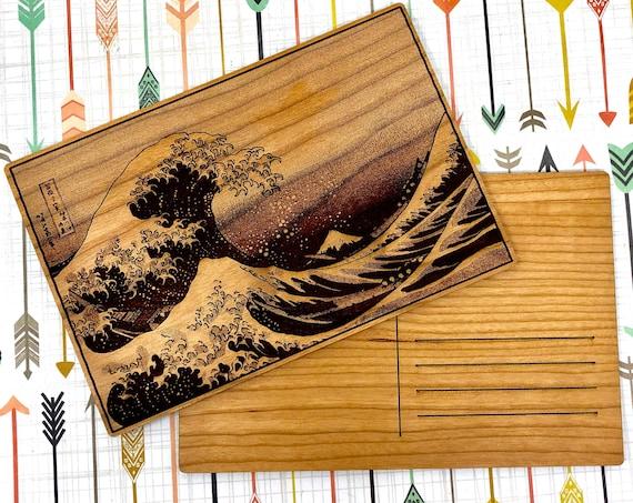 Wood Postcard - Great Wave Off Kanagawa Japanese Print, FREE SHIPPING
