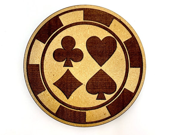 Casino Poker Chip Drink Coasters Set, FREE SHIPPING