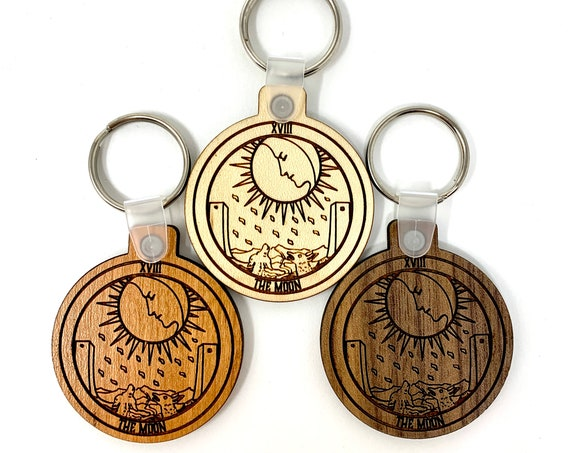 18 - The Moon - Tarot Deck Card Wood Key Chain w Key Ring, FREE SHIPPING
