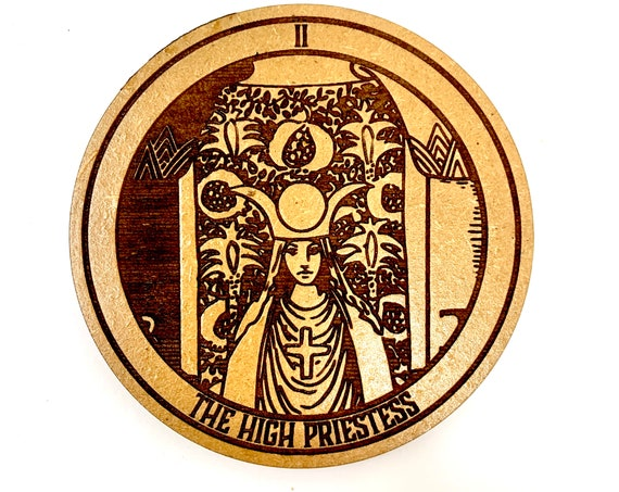 Tarot 02 - The High Priestess - Drink Coaster Set, FREE SHIPPING