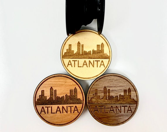 Atlanta Cityscape Scene Cell Phone Holder Grip Socket, Real Wood Top w/ strong 3M adhesive base, FREE SHIPPING
