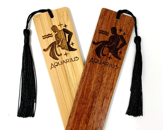 Wood Bookmark - Astrology Sign - Aquarius The Water Bearer - Bookmarks Bamboo or Rosewood, Engraved Real Wood Gift for Students or Friend