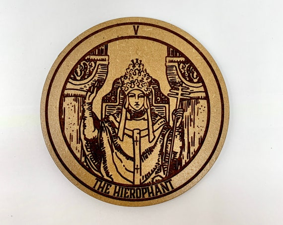 Tarot 05 - The Hierophant - Drink Coaster Set, FREE SHIPPING