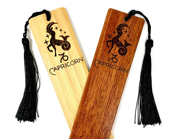 Wood Bookmark - Astrology Sign - Capricorn The Watergoat - Bookmarks Bamboo or Rosewood, Engraved Real Wood Gift for Students or Friend