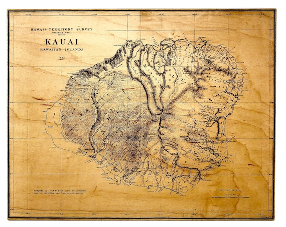 Kauai  Survey Map circa 1903, Hawaii Territory Map Laser Engraved on Wood,  FREE SHIPPING