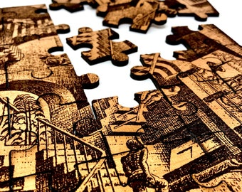 "Jigsaw Puzzle - MC Escher ""Relativity"" Surrealist Staircases Drawing"