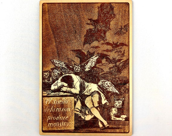 Sleep of Reason Produces Monsters, Goya Art Piece Engraved in Wood, FREE SHIPPING
