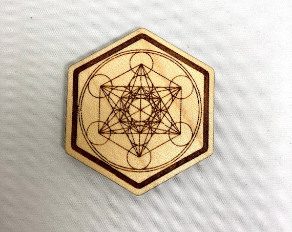 Wood Magnet -Metatron's Cube Sacred Geometry Design, FREE SHIPPING
