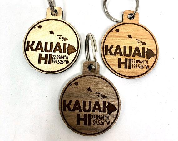 Kauai Map Coordinates Wood Key Chain, Laser Cut, FREE SHIPPING