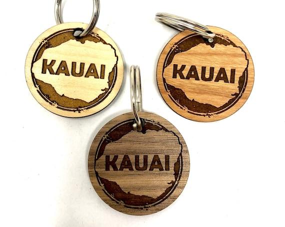 Kauai Island Wood Key Chain, Laser Cut, FREE SHIPPING