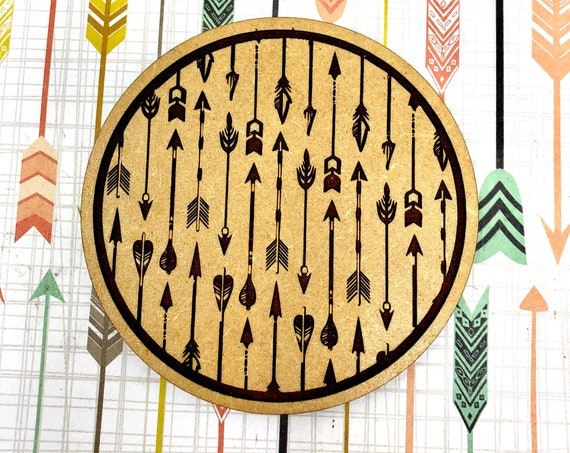 Drink Coasters - Boho Arrows Design Wood Drink Coaster Set Home Decor Unique Gifts Housewarming Gift
