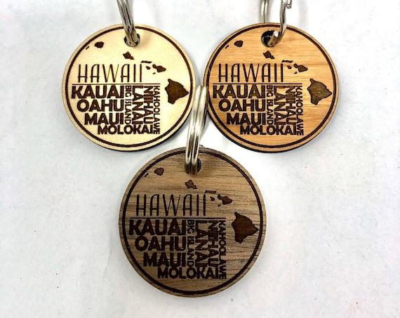 Hawaiian Island Names Wood Key Chain, Laser Cut, FREE SHIPPING