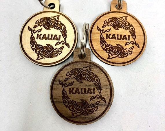 Kauai Dolphin Wood Key Chain, Laser Cut, FREE SHIPPING