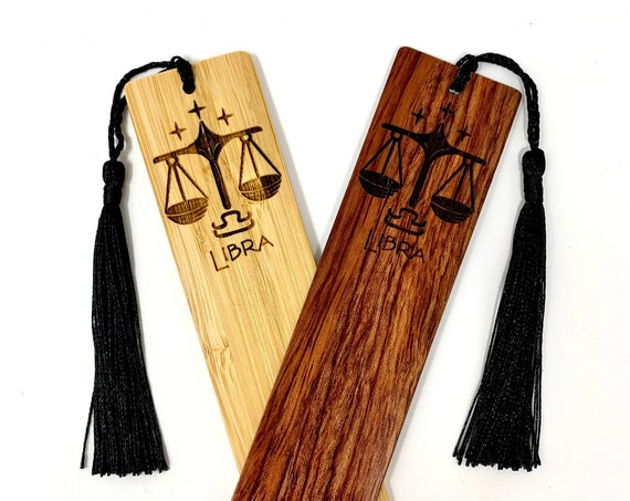 Wood Bookmark - Astrology Sign - Libra The Scales - Bookmarks Bamboo or Rosewood, Engraved Real Wood Gift for Students or Friend