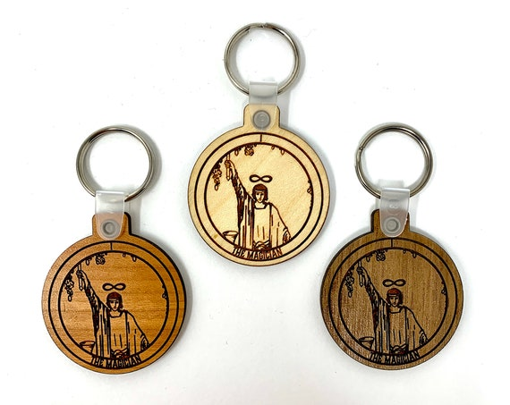 01 - The Magician -  Tarot Deck Card Wood Key Chain w Key Ring, FREE SHIPPING