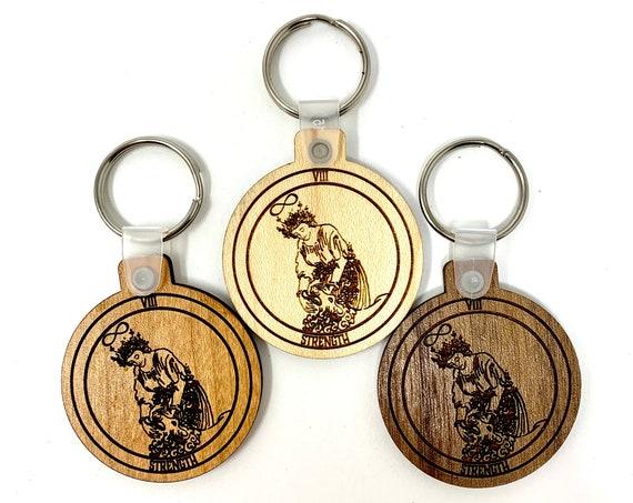 08 - Strength - Tarot Deck Card Wood Key Chain w Key Ring, FREE SHIPPING