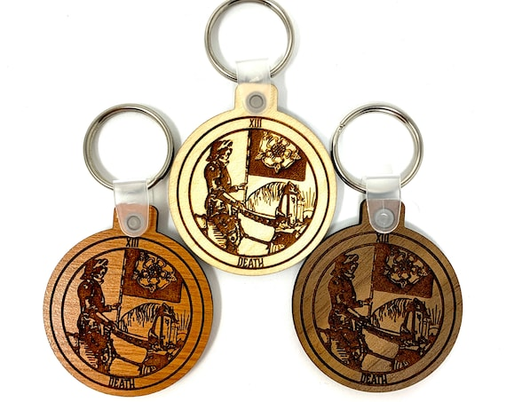 13 - Death - Tarot Deck Card Wood Key Chain w Key Ring, FREE SHIPPING