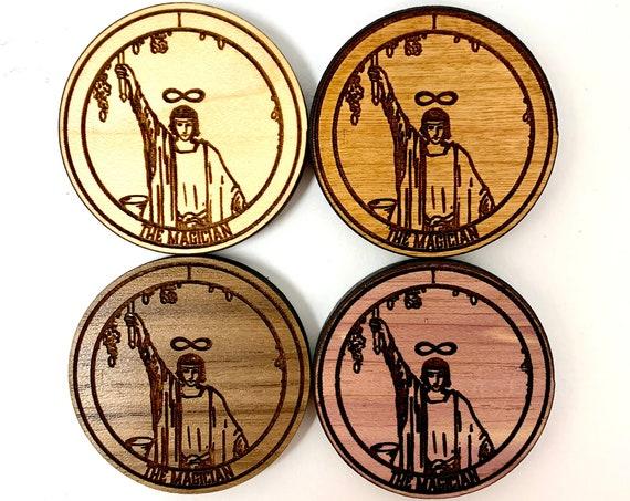 Tarot 01 - The Magician - Wood Fridge Magnet , FREE SHIPPING