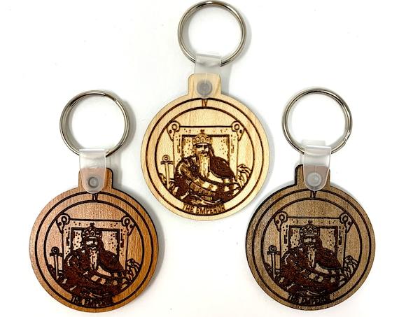 04 - The Emperor -  Tarot Deck Card Wood Key Chain w Key Ring, FREE SHIPPING
