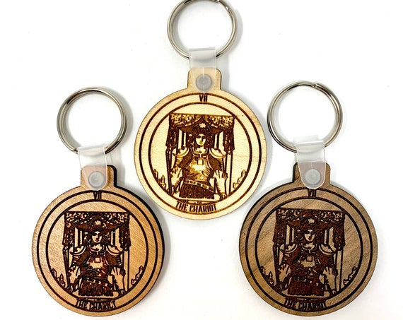 07 - The Chariot - Tarot Deck Card Wood Key Chain w Key Ring, FREE SHIPPING