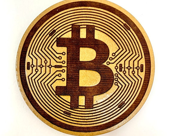 BitCoin Cryptocurrency Logo Design Drink Coasters Set, FREE SHIPPING