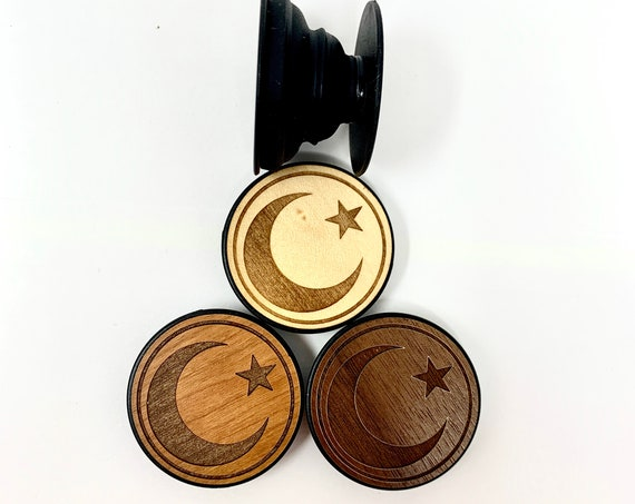 Crescent Moon & Star Islamic Design  Cell Phone Holder Grip Socket, Real Wood Top w/ strong 3M adhesive base, FREE SHIPPING