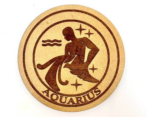 Aquarius - Astrology Star Sign - Drink Coaster Set, FREE SHIPPING