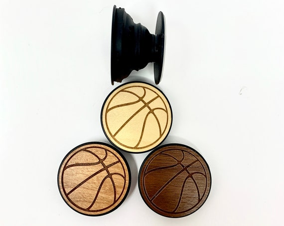 Basketball Design Cell Phone Holder Grip Socket, Real Wood Top w/ strong 3M adhesive base, FREE SHIPPING