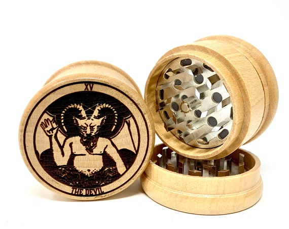 15 Tarot Deck Card - The Devil - Herb Grinder Weed Grinders Tobacco Spices 3 piece all wood set sharp blades w/ sieve FREE SHIPPING