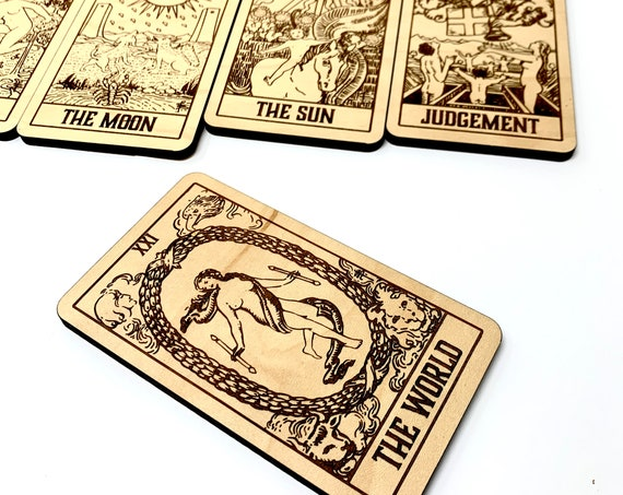Wood Tarot Set, 22 Major Arcana Wooden Cards, Laser Engraved: Free Shipping