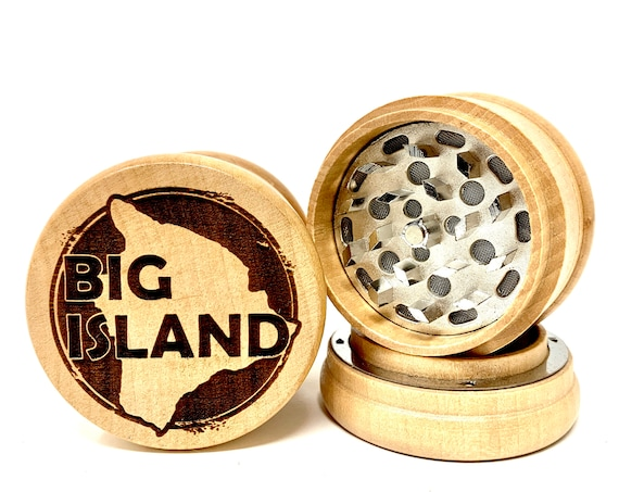 Big Island Hawaiian Islands - Herb Grinder 3pc Grinders Tobacco Spices 3 piece all wood set with sharp blades and sieve FREE SHIPPING