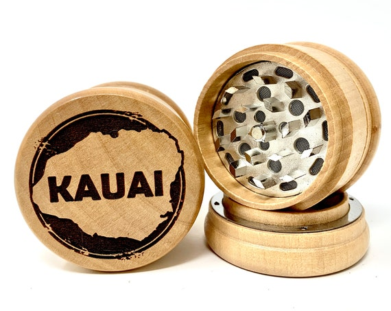 Kauai Island Hawaiian Islands - Herb Grinder 3pc Grinders Tobacco Spices 3 piece all wood set with sharp blades and sieve FREE SHIPPING