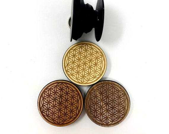 Flower of Life Sacred Geometry Cell Phone Holder Grip Socket, Real Wood Top w/ strong 3M adhesive base, FREE SHIPPING