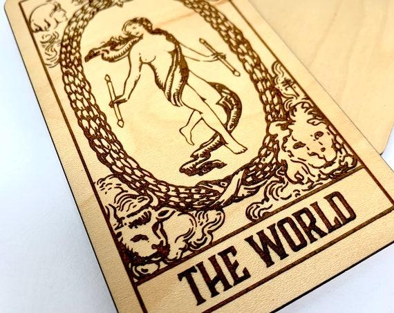21 The World - Wood Tarot Card, Free Shipping