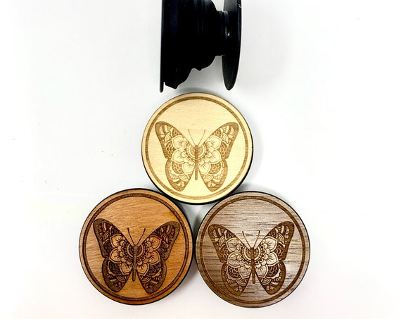 Butterfly Flower Mandala Cell Phone Holder Grip Socket, Real Wood Top w/ strong 3M adhesive base, FREE SHIPPING