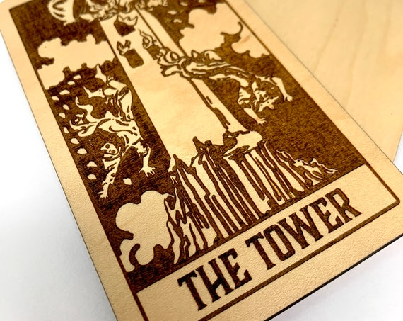 16 The Tower - Wood Tarot Card, Free Shipping