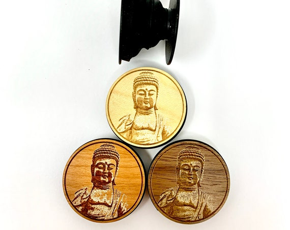 Buddha Statue Cell Phone Holder Grip Socket, Real Wood Top w/ strong 3M adhesive base, FREE SHIPPING