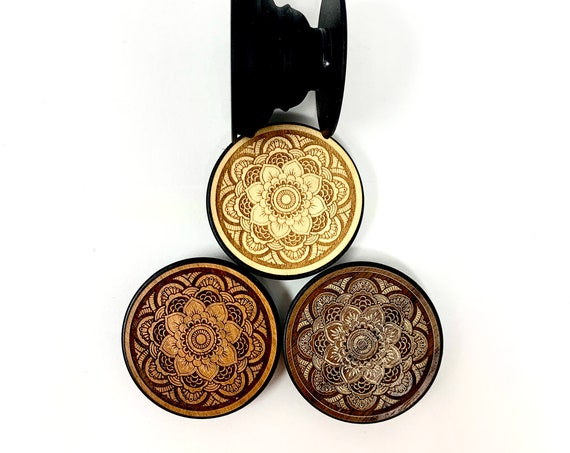 Flower Mandala Design Cell Phone Holder Grip Socket, Real Wood Top w/ strong 3M adhesive base, FREE SHIPPING
