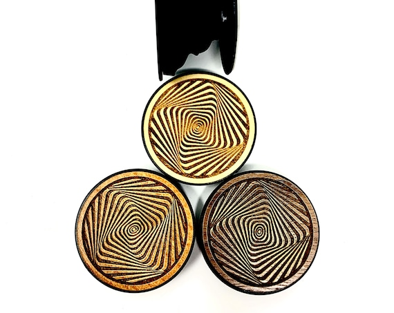 Crazy Spiral sq Optical Illusion Cell Phone Holder Grip Socket, Real Wood Top w/ strong 3M adhesive base, FREE SHIPPING