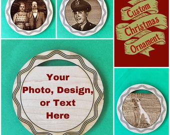 "Custom 4"" Christmas Ornament, Maple Finish, Your Photo or Design, FREE SHIPPING"