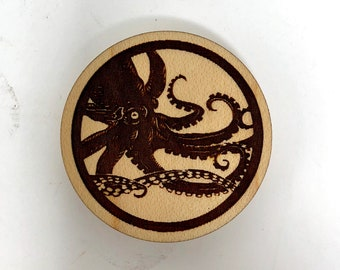 Wood Magnet - Giant Octopus Kraken Design, FREE SHIPPING