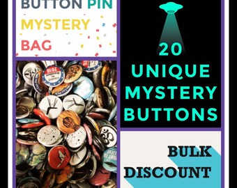 79 cents  ea: Mystery Grab Bag of 20 Buttons Pins, FREE SHIPPING, Bulk Discount