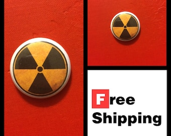 Radioactive Fallout Symbol Button, FREE SHIPPING & Coupon Codes