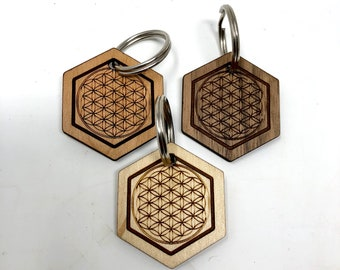 Sacred Geometry - Flower of Life Wood Key Chain, FREE SHIPPING